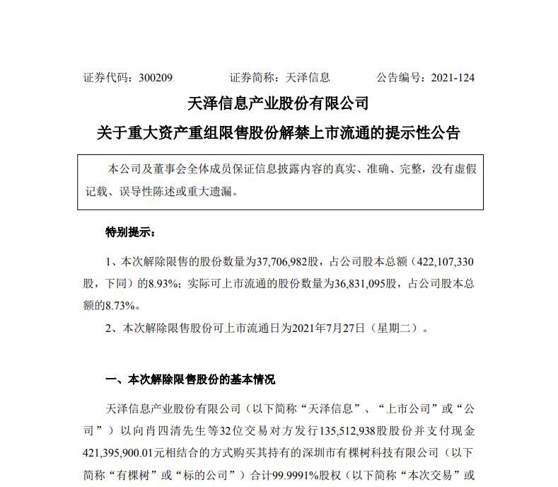 有棵树母公司天泽信息:约3770万股限售股将解禁 占比8.93%