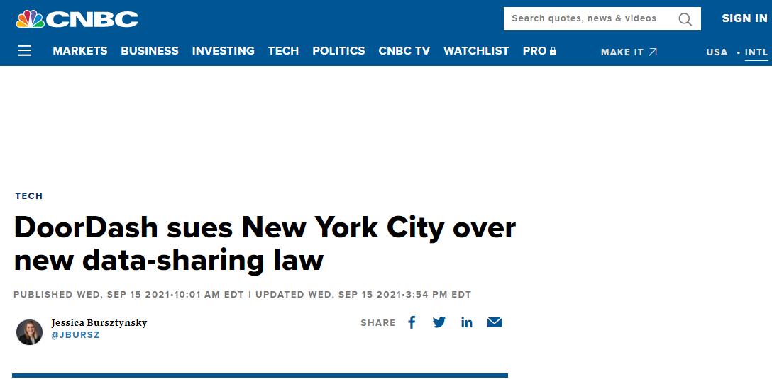 美国外卖公司DoorDash对纽约市提起诉讼